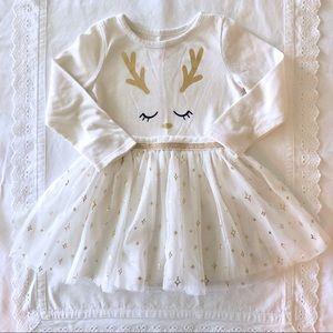 Reindeer Tutu Dress - Creamy Color w Gold